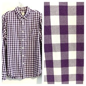 J. Crew Shirts - J CREW Purple and White Checked Button Up Shirt